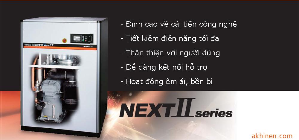 Dòng máy nén khí trục vít ngâm dầu Hitachi dòng Next II Series 18-37Kw