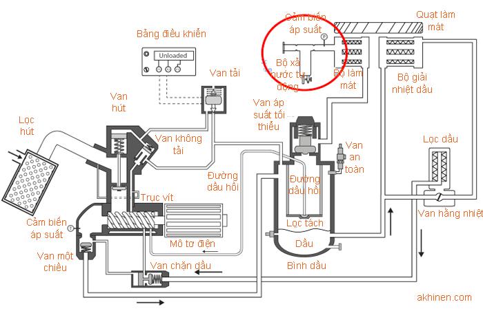 Vị trí bộ xả nước tự động máy nén khí